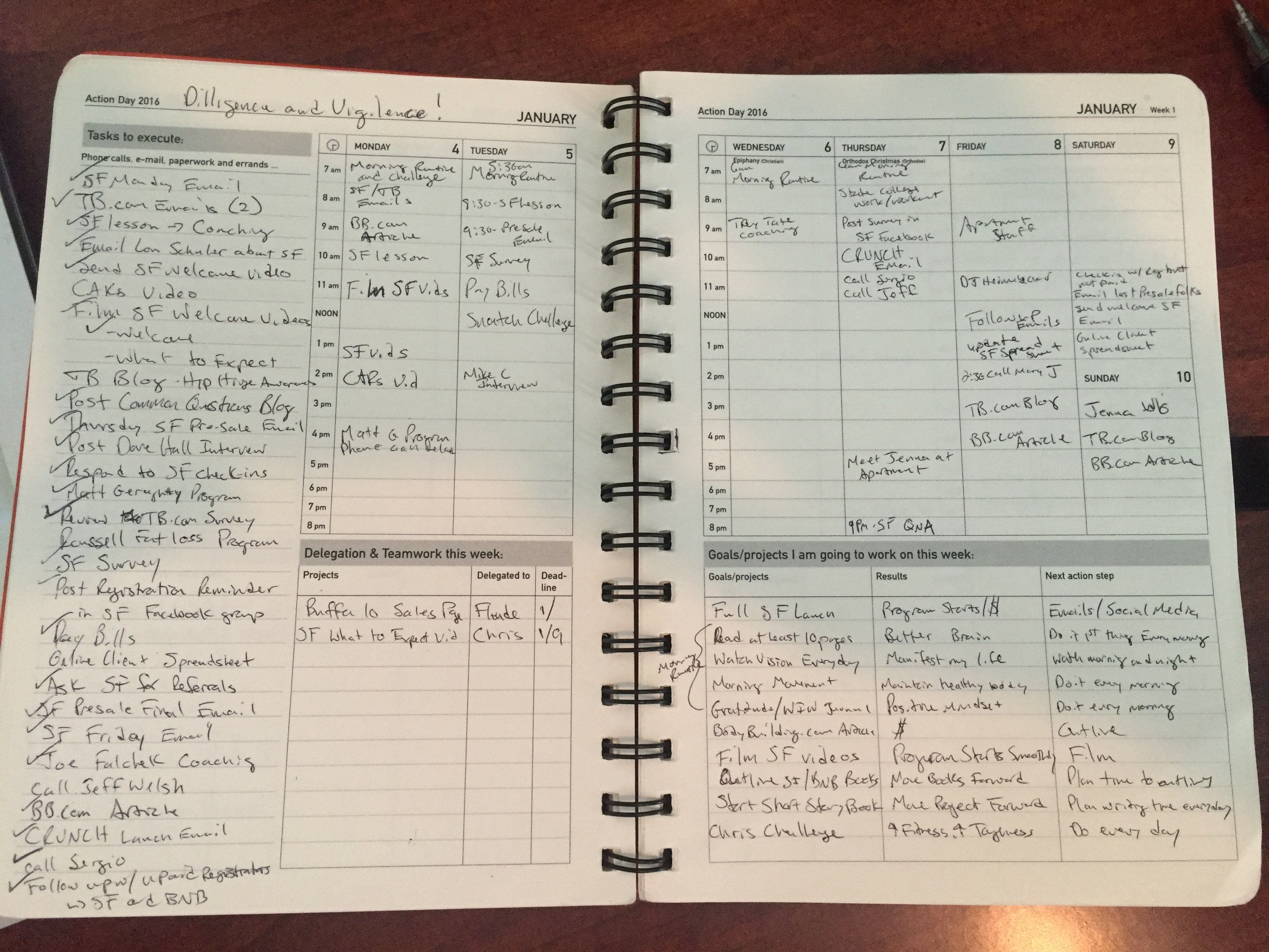 daily planner examples